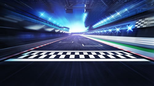 finish line on the racetrack with spotlights in motion blur, racing sport digital background illustration-img-blog