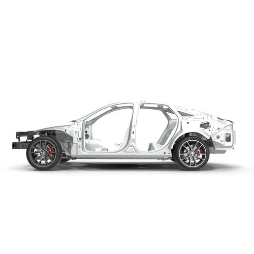 S illustlet of a car with Chassis on white. Side view. 3D illustration-img-blog