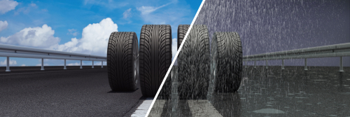 car tires on dry road in summer and wet road in the rain (3d rendering)-img-blog