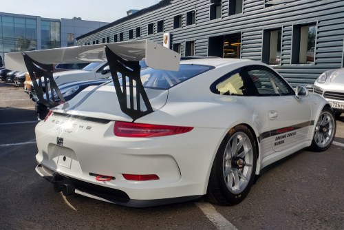 white porsche 911 gt3 rs cup parked on the street-img-blog